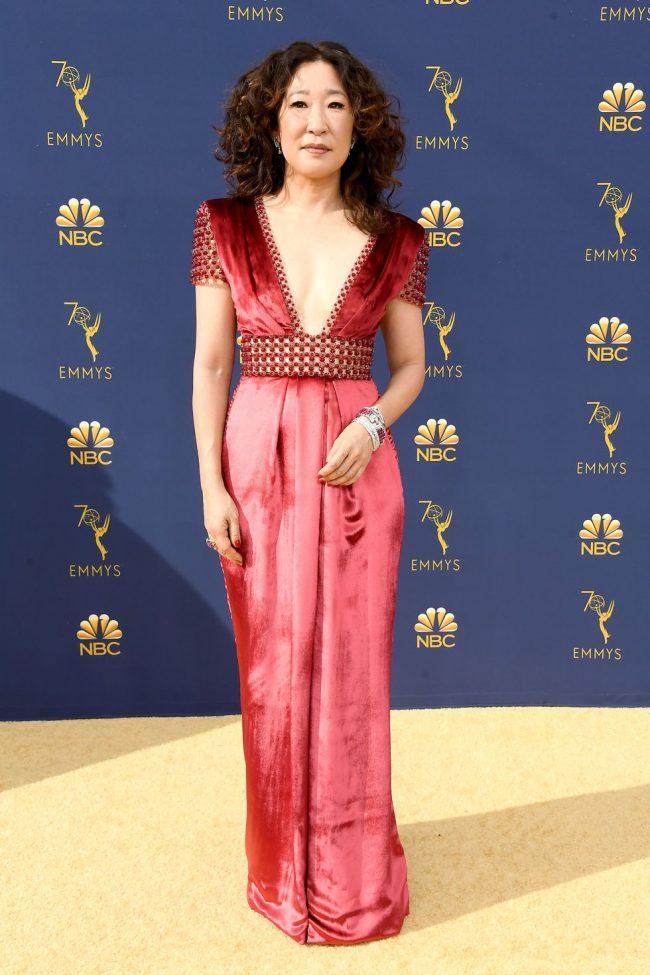 Sandra Oh at the 2018 Emmy Awards