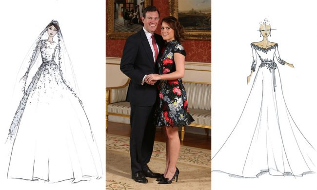 Sketch renditions of Princess Eugenie's dress