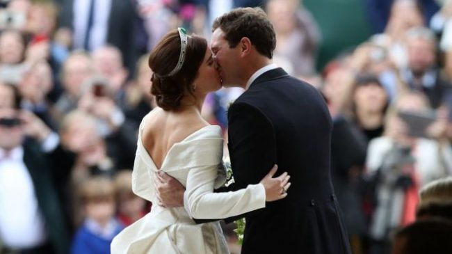 Princess Eugenie solidifies their union to Jack Brooksbank with a kiss