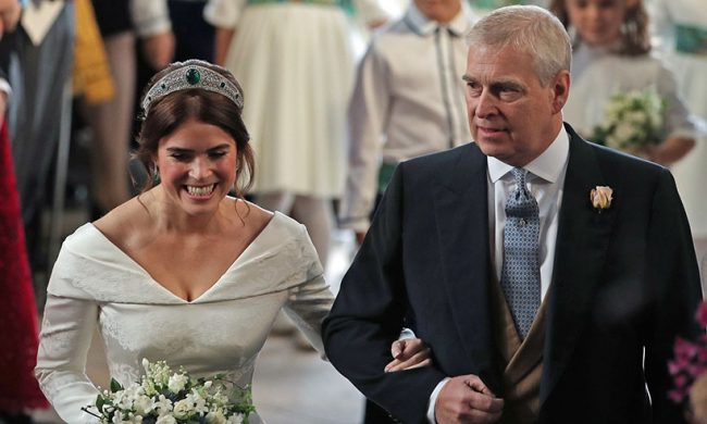 Princess Eugenie's arrival with her father Prince Andrew
