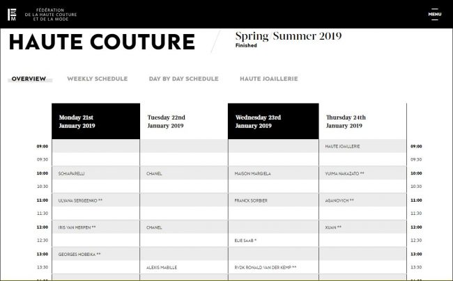 Haute Couture Spring 2019 schedule