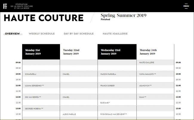 Haute Couture Spring 2019 schedule