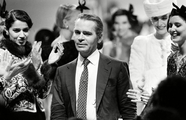 Karl Lagerfeld being applauded after his first Chanel show in 1983. Jacques Langevin/AP/REX/Shutterstock