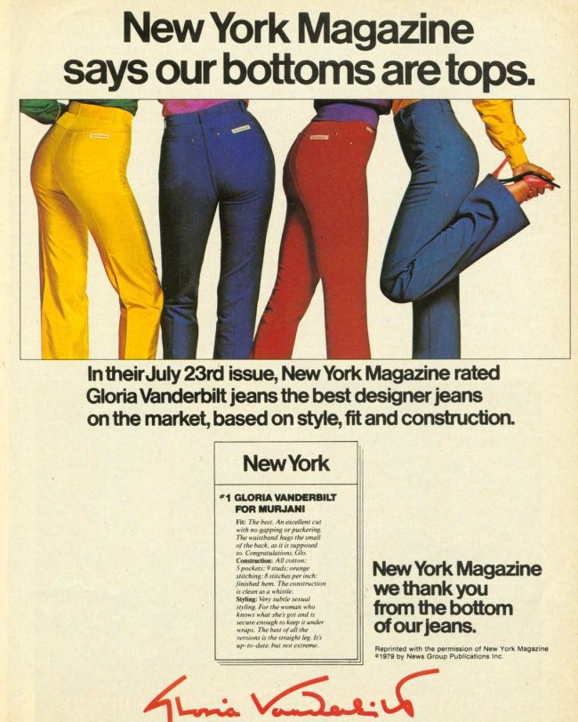 1970s Gloria Vanderbilt jeans ad