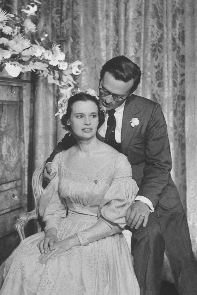 1956- Gloria Vanderbilt and her 3rd husband Director Sidney Lumet during their wedding reception.