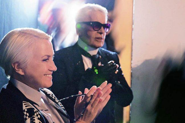 Silvia Venturini Fendi Fall 2019 Paris Haute Couture (L) and Karl Lagerfeld