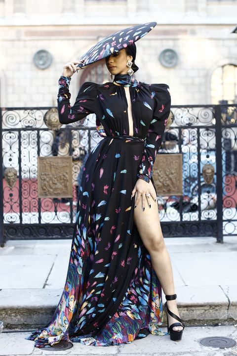 Cardi B Wears Michael Costello Look at Paris Fashion Week