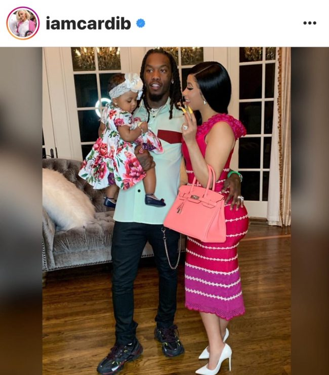 Cardi B with daughter Kulture Kiari Cephus and husband Offset earlier this year