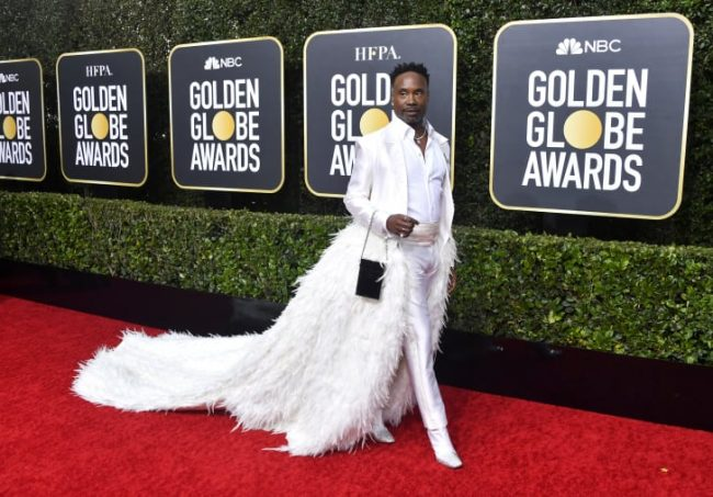2020 Golden Globes Billy Porter in Alex Vinash was a fine ass white feathered fella