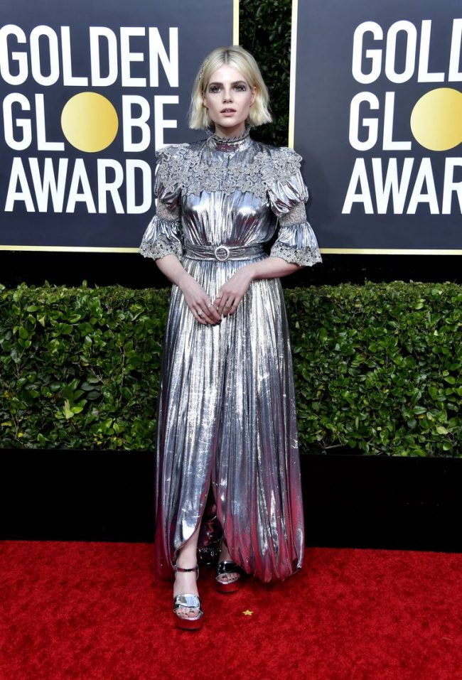 Lucy Boynton in this hideous Louis Vuitton at 2020 Golden Globes