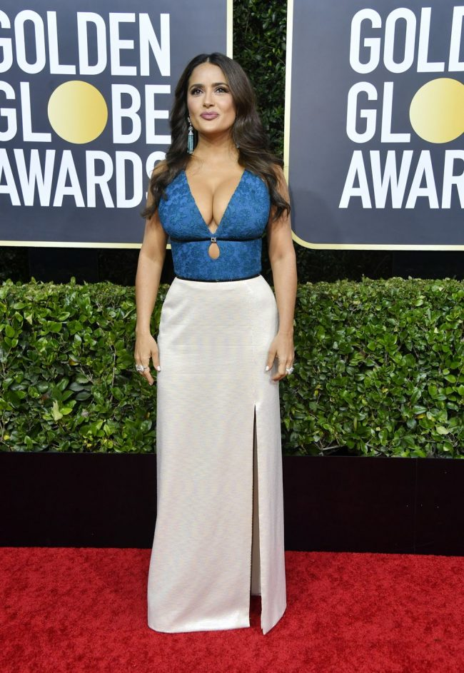 salma-hayek-gets a bad wrap in this Gucci at 2020 Golden Globes