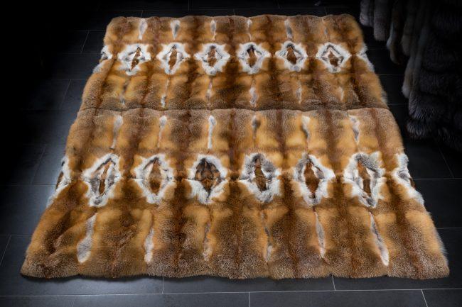 European wild red fox fur rug by international furrier Lars Paustian home decor