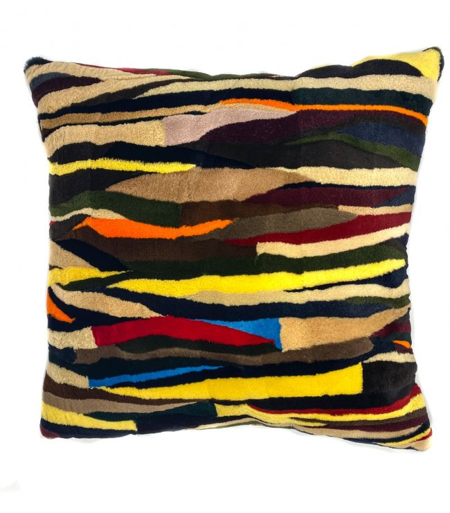 Sheared patchwork mink pillow by Pologeorgis home design trends