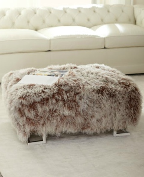 A custom fur ottoman can double as extra seating when needed home decor trends