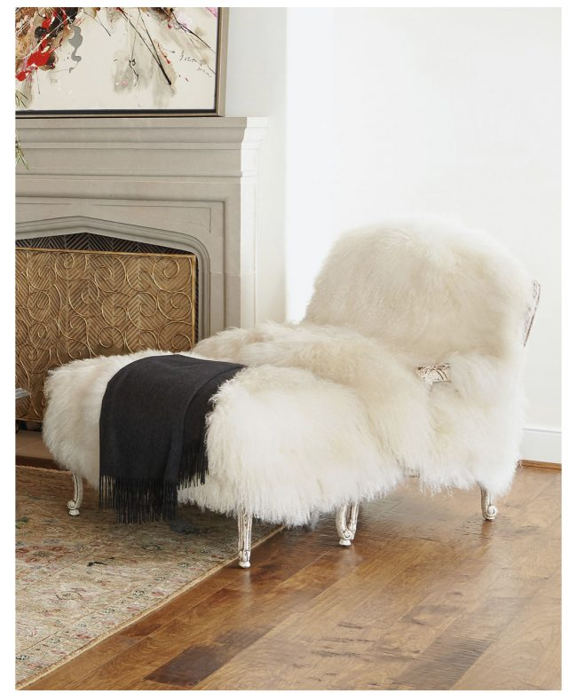 Old Hickory Tannery Sheepskin chair and Ottoman sold by Neiman Marcus home decor trends